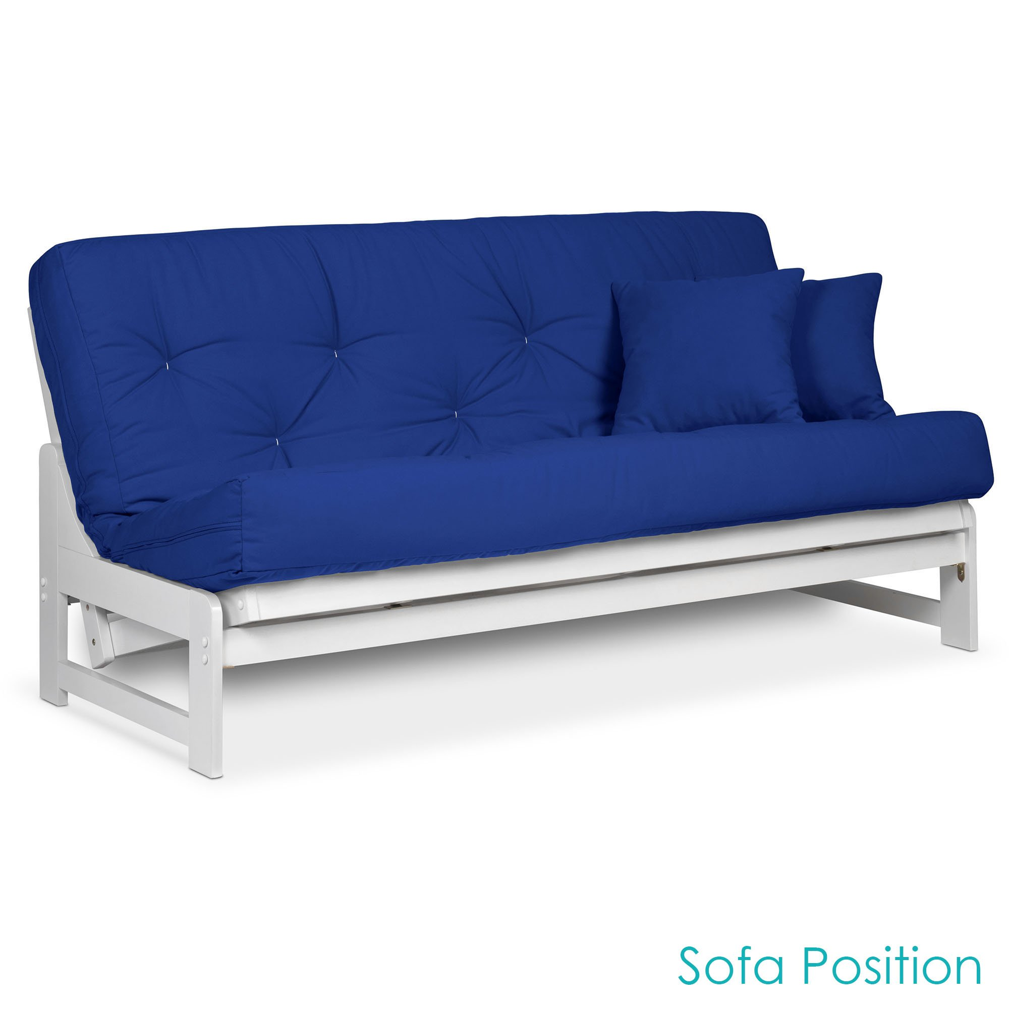 Arden White Finish Futon Set (Full or Queen Size), Armless Wood Futon Frame with Mattress Included (Twill Royal Blue), More Mattress Colors Available, Space Saving Modern Sofa Bed Sleeper