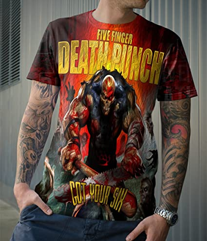 Five Finger Death Punch Band Tee 5FDP Apparel Tshirt Fullprint New Men/'s T-Shirt