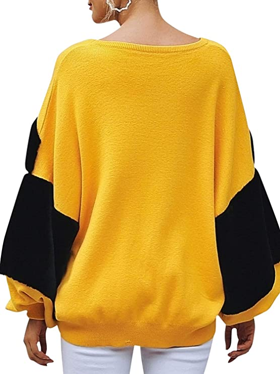 BerryGo Women s Faux Fur Patchwork Sweater Oversized Round Neck pullover  Jumper Yellow 2bd81feca