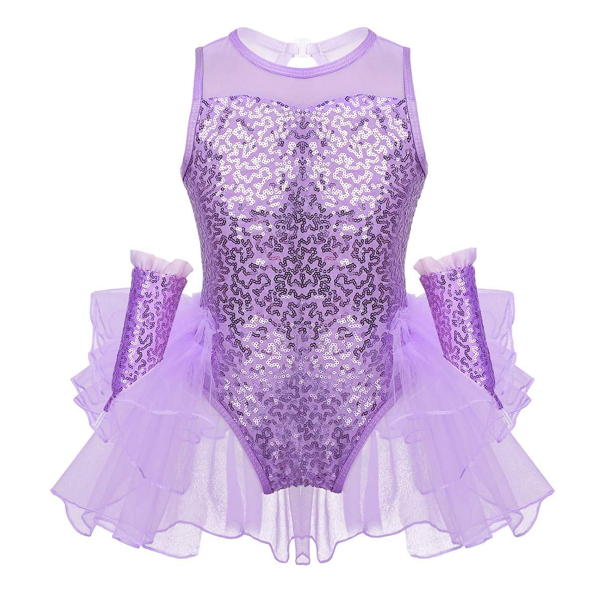Freebily Vestito Danza Classica Bambina Abito da Ballo Latino Samba Tango Paillettes Tuta Danza Moderna Tutu Ballerina da Balletto Body Pattinaggio Artistico Dancewaer
