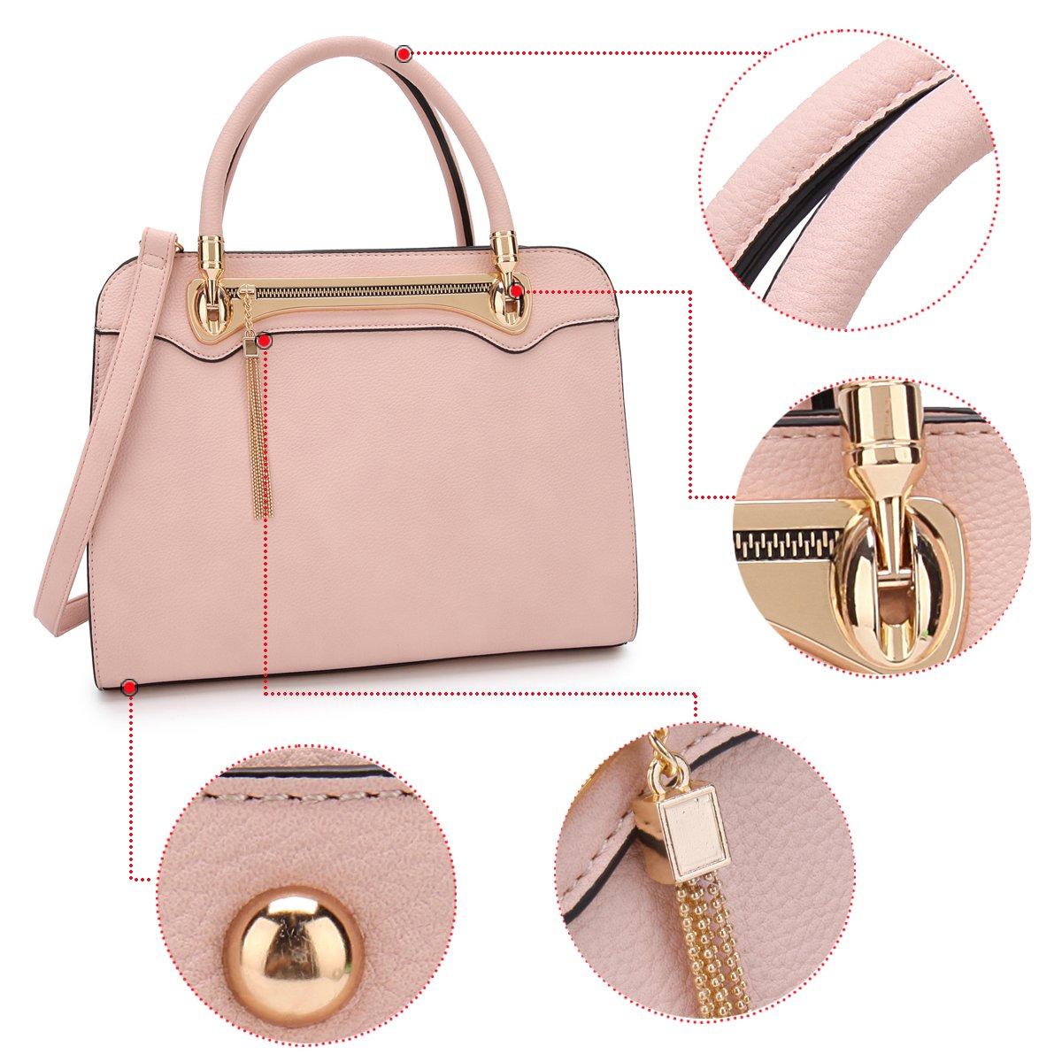 Women Structured Satchel Bags Vegan Leather Handbag Top Handle Purse Fashion Shoulder Bag with Fringed Tassel by Dasein (Image #4)