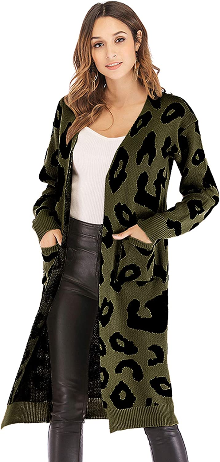 Corsion Women Leopard Print Zipper Coat Ladies Loose Cardigan Hooded Tops