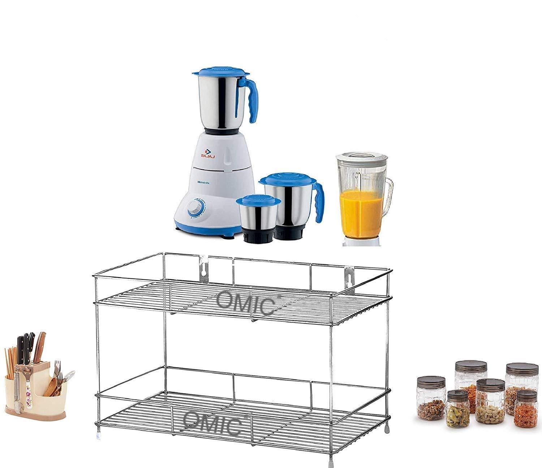 Omic Stainless Steel 2 Layer Wall Mount Kitchen Spice Rack with Mixer & Jar Stand | Modular Kitchen Storage Rack | Kitchen Organizer (45 cm x 25 cm x 28 cm, Silver)