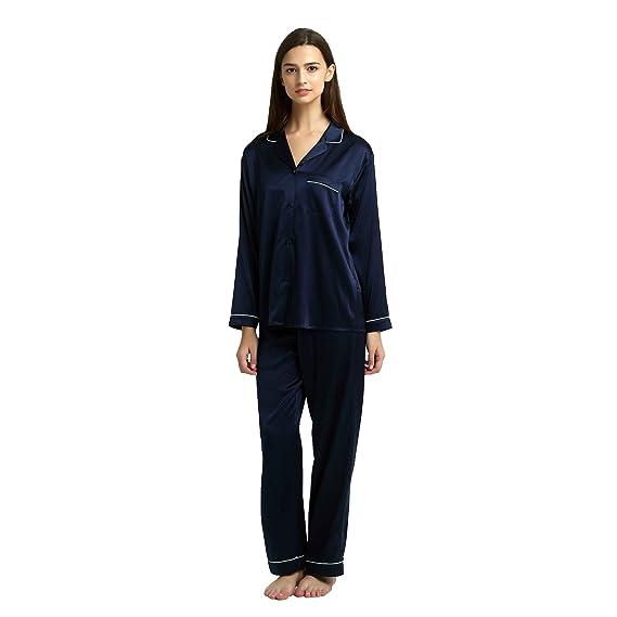 ecb7174361 JASMINE SILK Ladies  Pure Silk Pyjamas Set Navy  Amazon.co.uk  Clothing