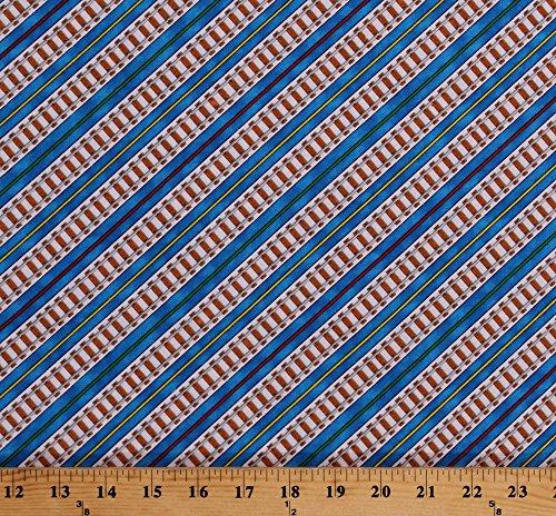 Cotton Railroad Tracks Railroads Railway Thomas the Train Kids Blue Cotton Fabric Print by the Yard (5546J-5B) -