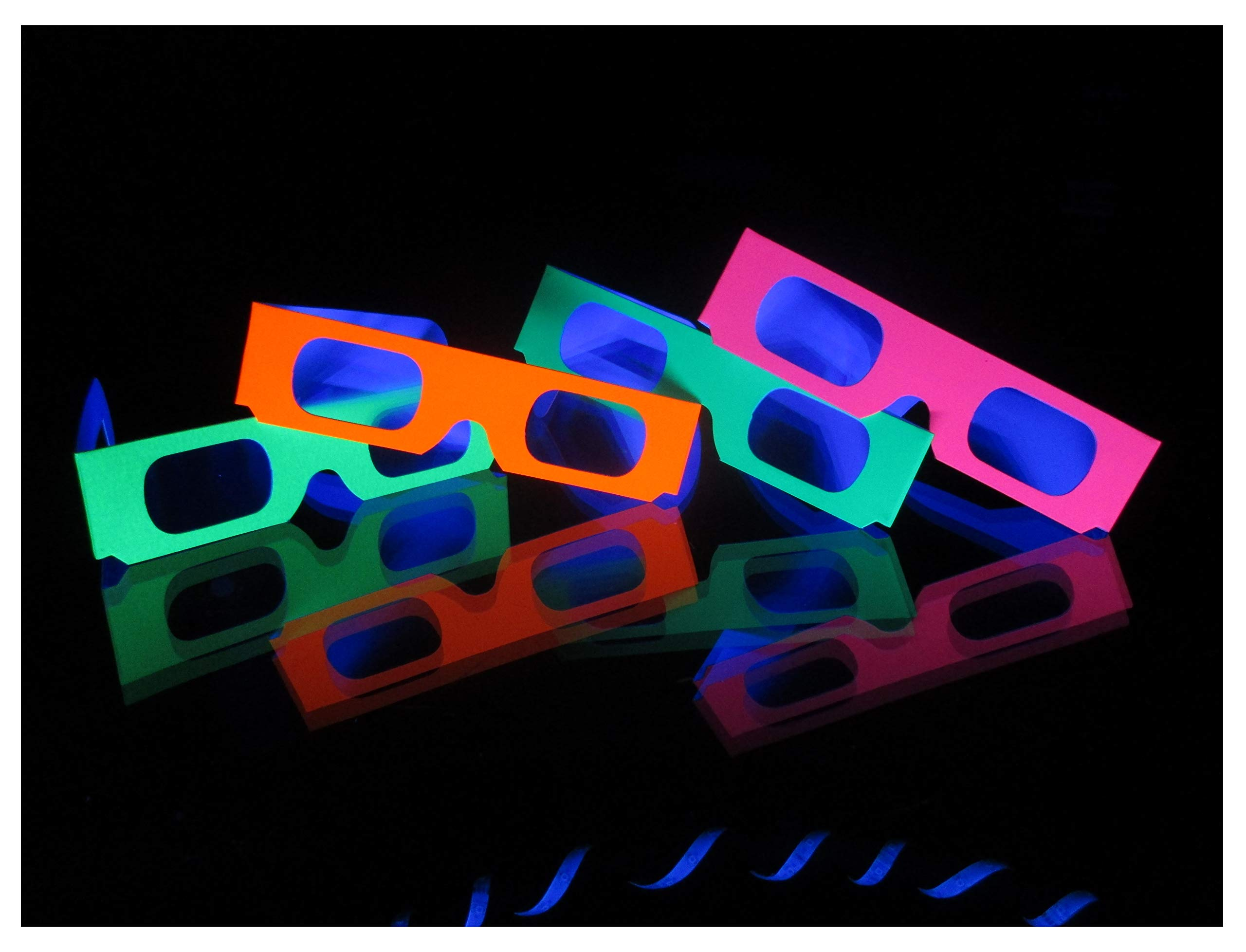 Rob's Super Happy Fun Store 50 Pair Fireworks Diffraction Glasses (Glow Under Blacklight!) Plus 1 Pair Hearts Diffraction Glasses