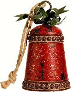 "RAZ~Vintage Style 8"" Metal Rustic Christmas Bell w/Bow Ornament Decoration"