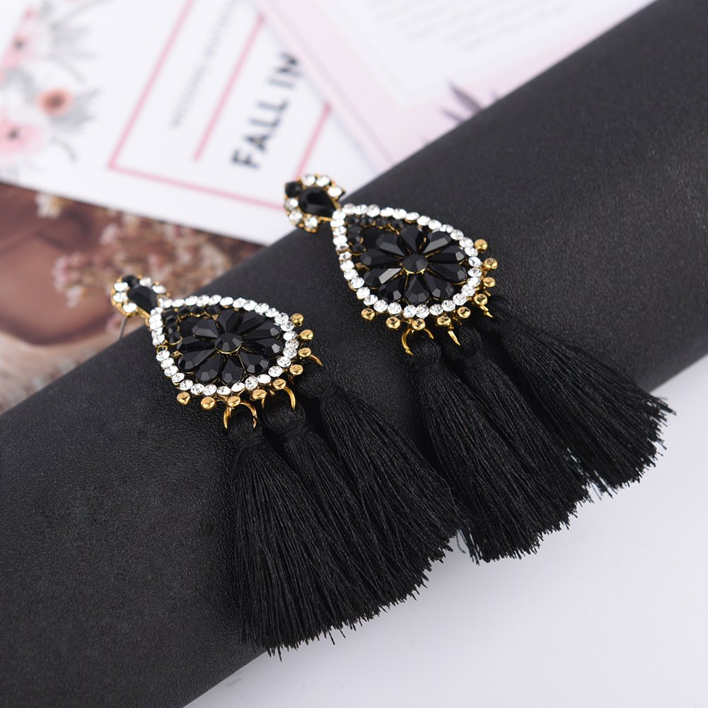 Tassel Dangle Drop Stud Earrings - YIFEI 2018 New Design Rhinestone Bohemian Chandelier Teardrop Statement Handmade Dangling Fringe Earrings For Womens by YIFEI (Image #3)