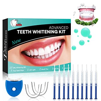 Gel Blanqueador de Dientes Teeth Whitening Kit Profesional Blanqueamiento Dientes-10x3ML Gel, 1x Luz