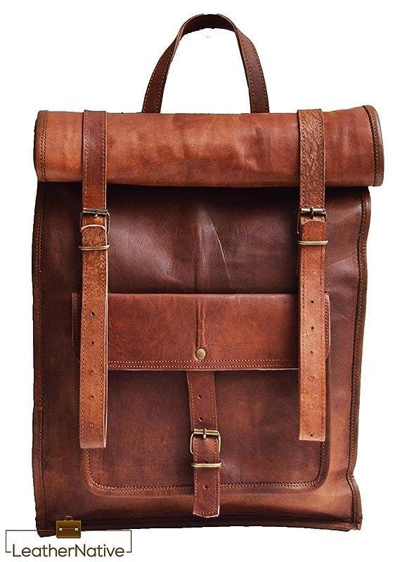 Mens Vintage Genuine Leather Backpack Rucksack Laptop Messenger Bag Satchel NEW