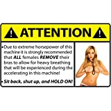 Attention Remove Bra Female Funny Caution Warning Decal Sticker