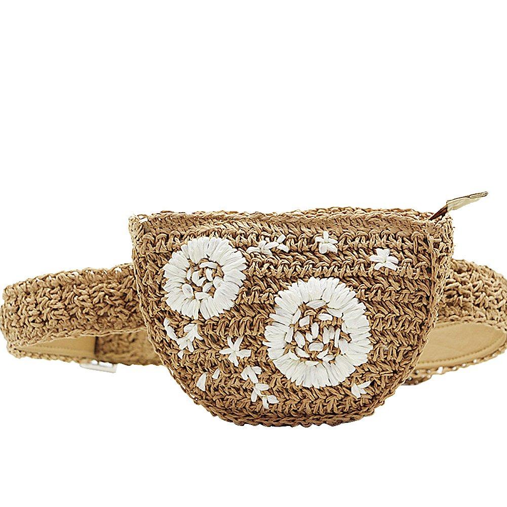 Leiyini 2018 Fashion Straw Waist Pack 100% Handmade Belt Bag Embroidery Flower Design Fanny Bag Outdoor Summer Holiday Waist Bag Sand beach Travel Bolso (Light tan)