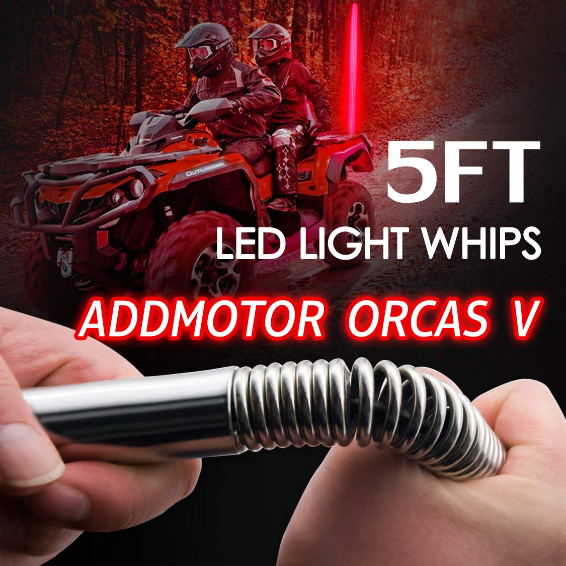 Addmotor Orcas V 5 Feet Led Whip Flag Light Quick Release Shock Spring Remote Antenna Absorbing Base Bendable Truck Beach Lamp+ Flag Fit For Pickup Jeep Truck ATV UTV Off Road Sand Dunes(Green-5ft)