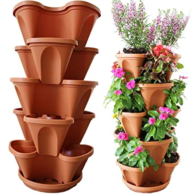 Nature's Distributing Stacking Planters - 5 Tier - with Patented Flow Grid System: Kitchen & Dining