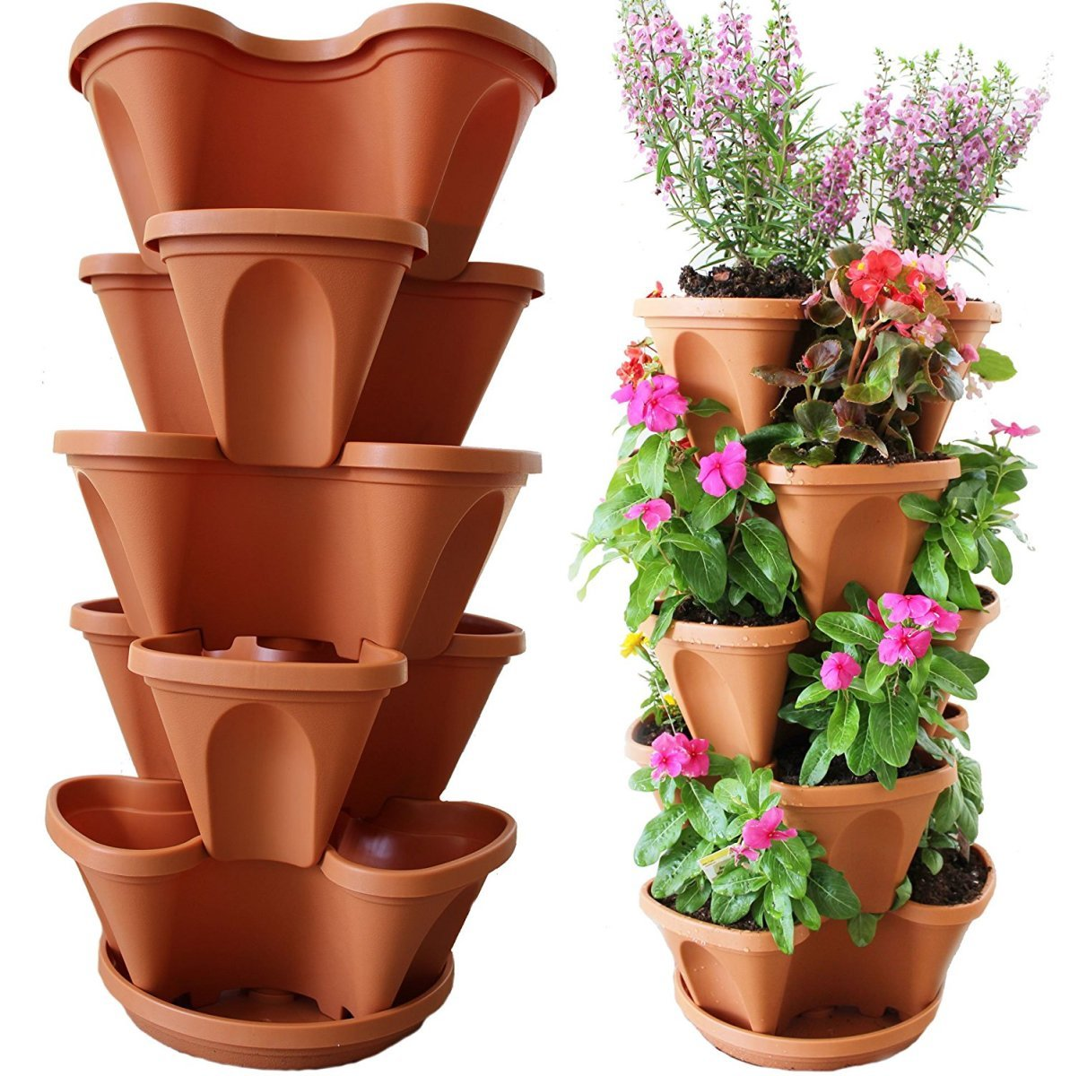 Nature's Distributing Stacking Planters - 5 Tier - with Patented Flow Grid System by Nature's Distributing
