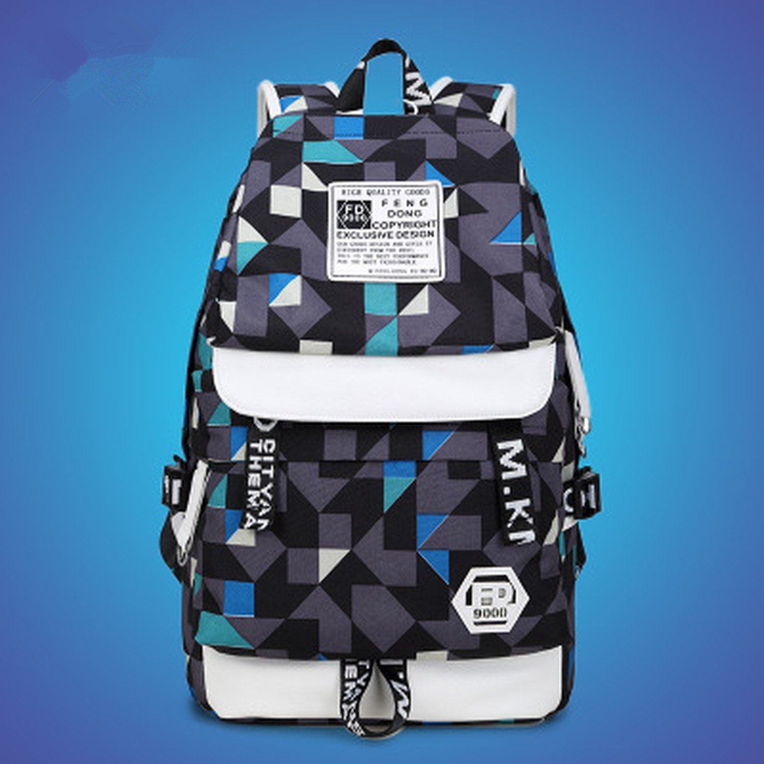e3abbcbe685 Amazon.com   Printed Women Backpack Best Travel Bag Cute Adolescence Female  Backpack Knapsack Student Girl Shoulder Bag Geometric Backpack 15 Inches ...