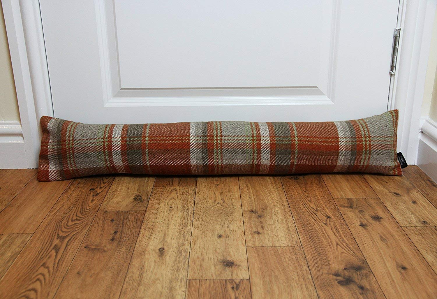 McAlister Textiles Window Draft Stopper and Door Cloth Seal 36'' Stops Unfriendly Drafts and Wind Noises, UNFILLED Heritage Plush Plaid Cloth Door Draft for a Rustic Farmhouse Decor Accent, Terracotta by McAlister Textiles