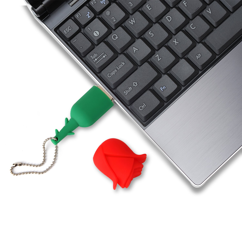 Lovely Key Chain New 32GB Cartoon Rose USB Flash Drive, USB 2.0 Flash Driver Data Storage Device Memory Rod Gift U Disk by MD001 (Image #7)