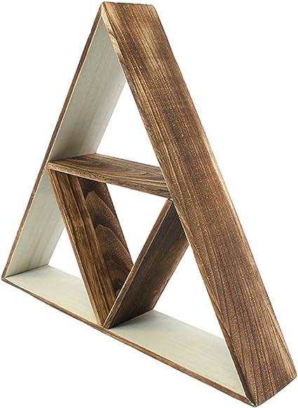 Estantería grande de madera triangular y bohemia