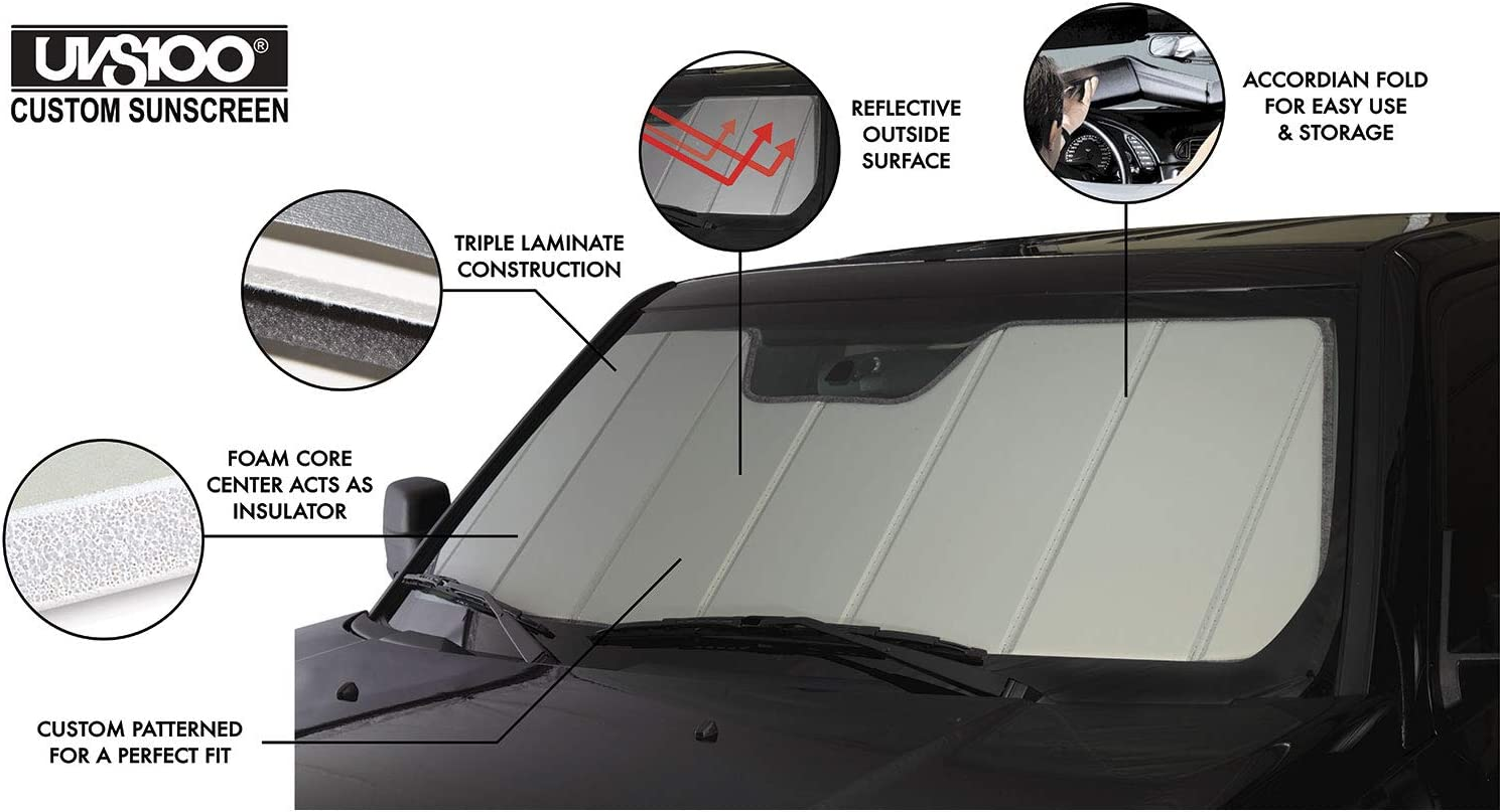 Fits 2015-2020 Ford F-150 with Rearview Mirror Mounted Camera Covercraft UVS100 Custom Sunscreen UV11386SV Silver