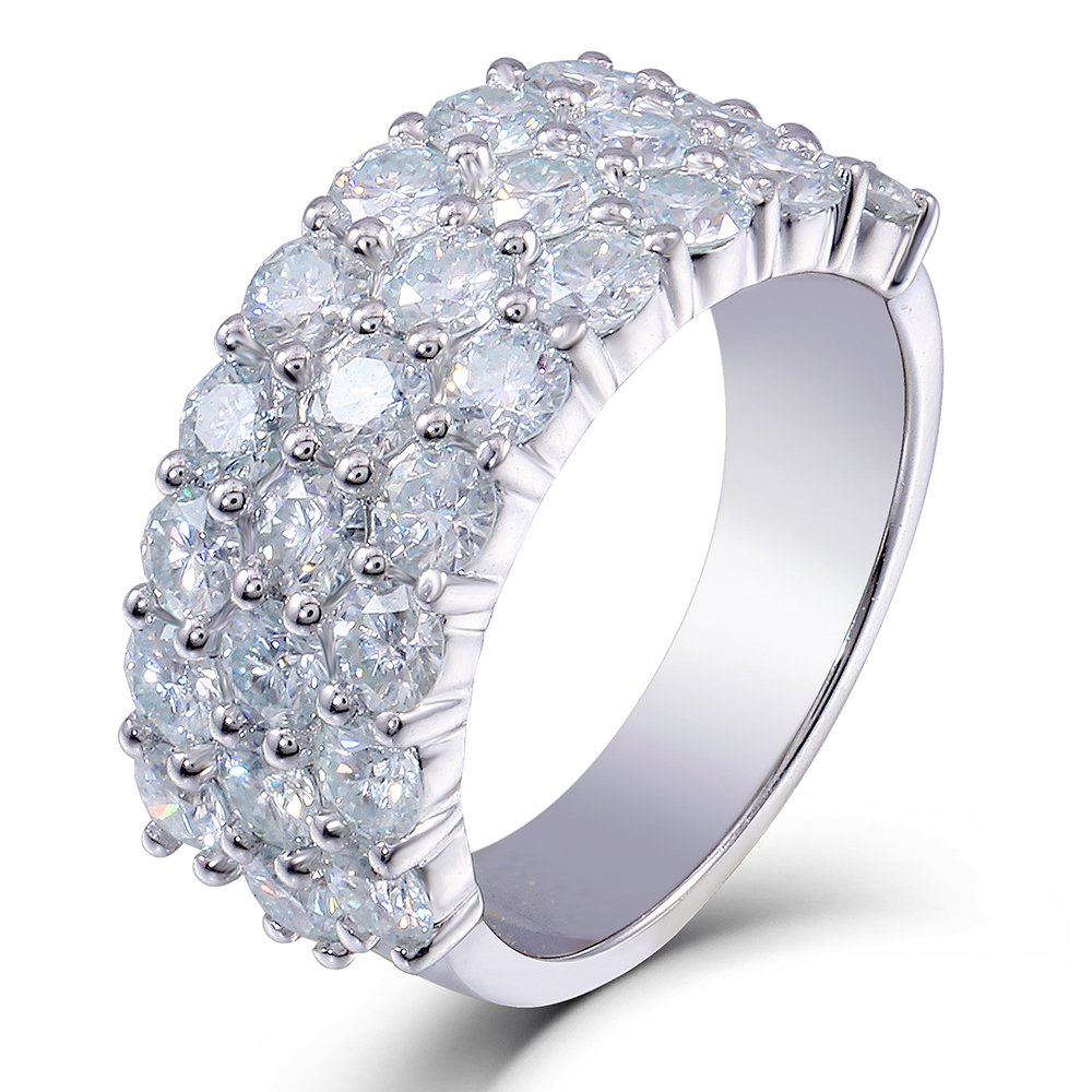 2.8CTW 9MM Round Moissanite Lab Created Diamond Wedding Half Eternity Band 925 Sterling Silver for Women (6)