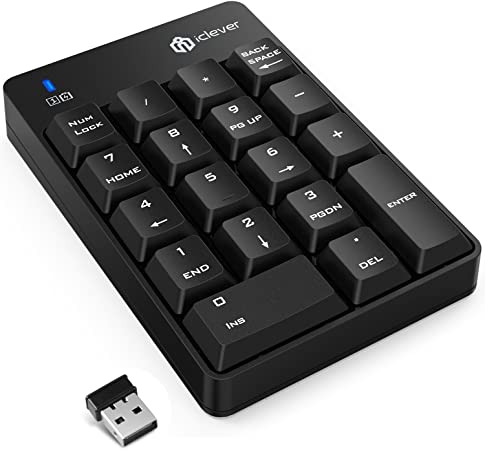 iClever – Teclado numérico USB de 18 teclas inalámbrico 2.4 G portátil Slim Mini teclado numérico para iMac, ordenador portátil PC