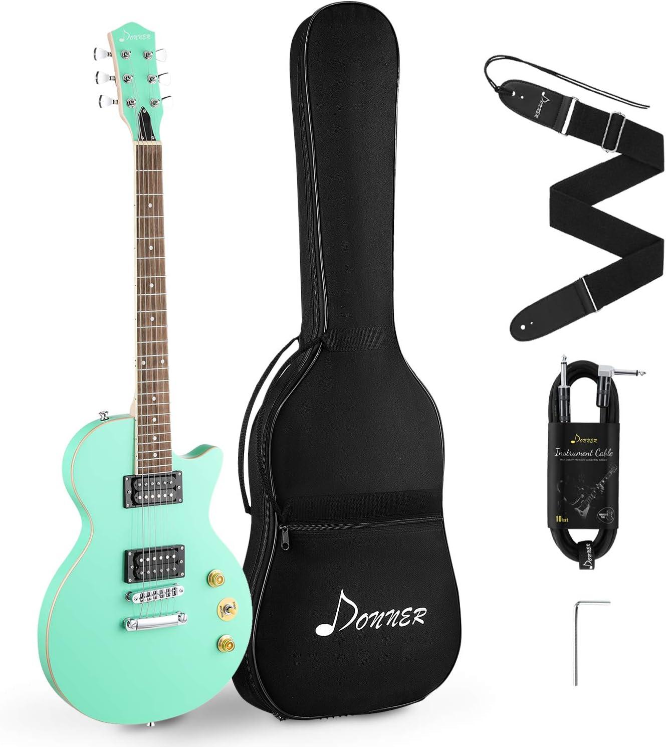 Donner DLP-124G Guitarra eléctrica con bolsa, correa, cable, Verde