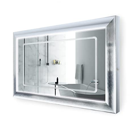 Amazon Com Led Lighted 48 Inch X 30 Inch Bathroom Satin Silver
