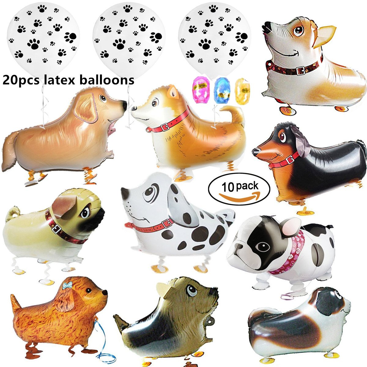 30 Pcs Including 10 pcs Walking Animal Balloons Pet Dog Balloons and 20pcs 12 inch Black Paw Prints Latex White Balloons Dog Balloon Toys Air Walkers For Kids Gift Birthday Party Decor