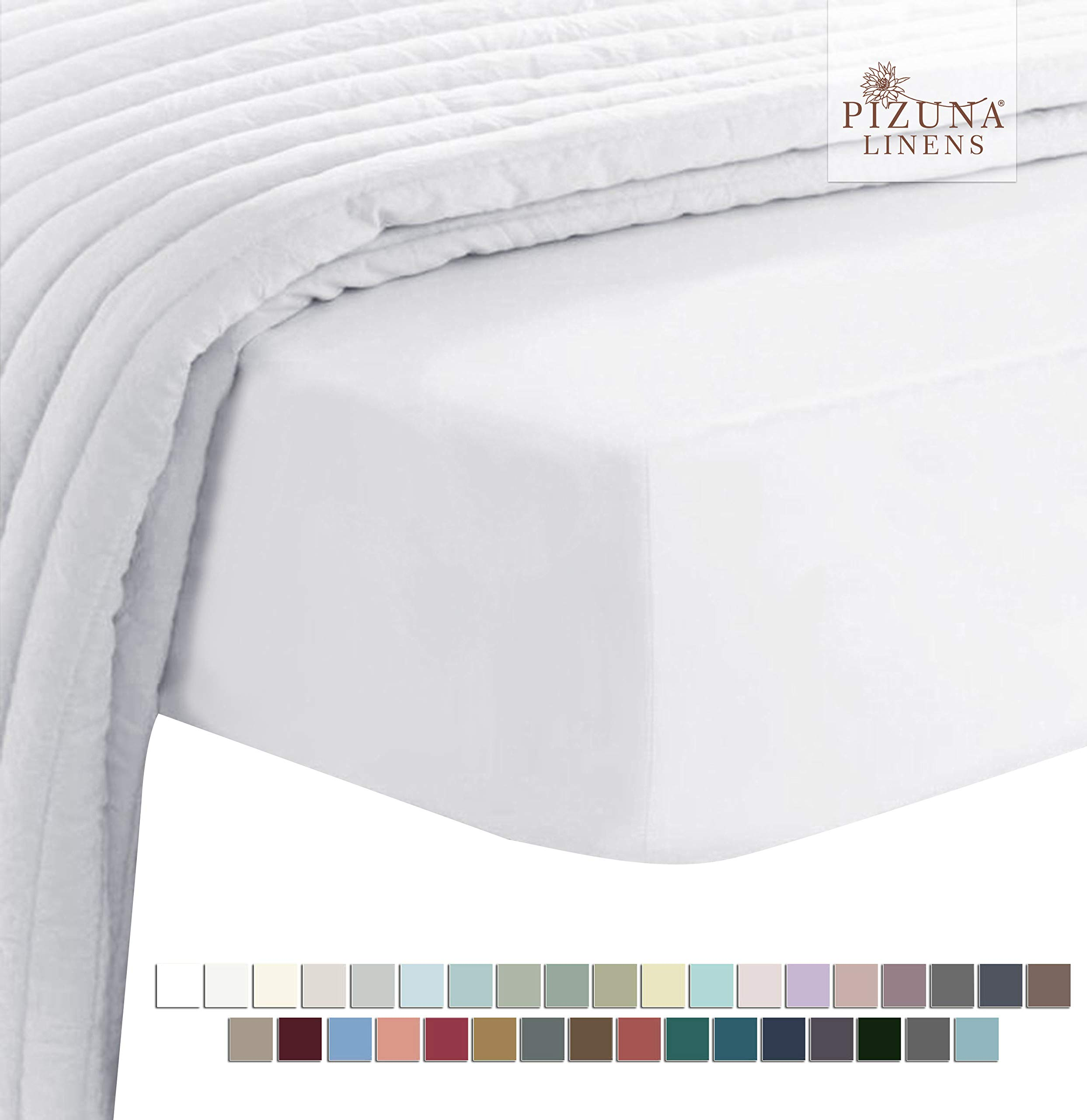 Pizuna Soft 400 Thread Count Cotton Queen Fitted Sheets White 1pc, 100% Long Staple Cotton Soft Sateen Bed Fitted Sheets fit Upto 15 inch Deep Pocket (White 100% Cotton Deep Fitted Sheet Queen) by Pizuna
