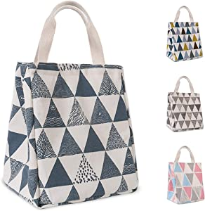 HOMESPON Reusable Lunch Bag Insulated Lunch Box Cute Canvas Fabric with Aluminum Foil, Printed Lunch Tote Handbag Fordable for Women,Men,School, Office (Triangle Pattern-Blue)