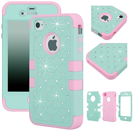sports shoes 6bd1f 26837 Majesticase® iPhone 4/4S Case - 3 Layers Diamante Bling Crystals Full Body  Hybrid Armor Protection Cover + FREE Stylus in Green/Pink