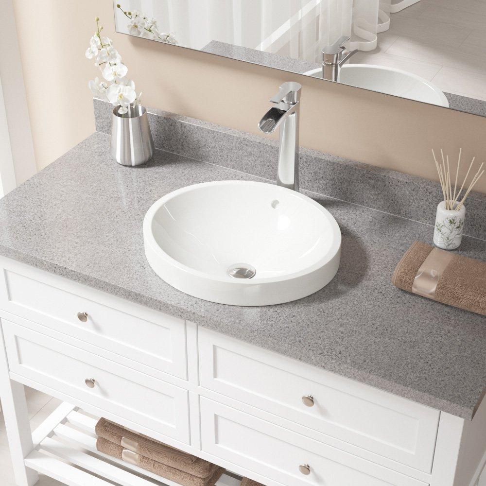 MR Direct V22182-Bisque Porcelain Vessel Sink Chrome Ensemble with 731 Vessel Faucet Bundle - 3 Items: Sink, Faucet, and Pop Up Drain V22182-B-731-C
