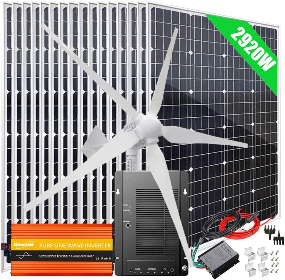 2920W Wind Solar Kit Off Grid System 48V Battery Charger :16x 120W Mono Solar Panel + 1000W Wind Turbine Generator + 40A MPPT Charge Controller + 3000W Inverter Peak 6000W