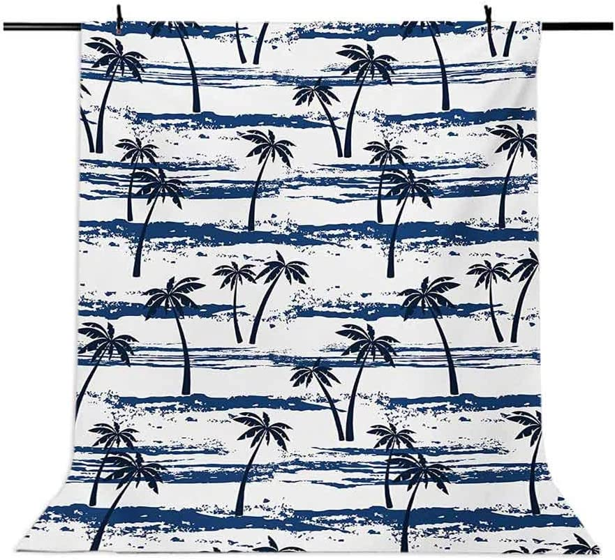 Pattern with Sea and Palm Trees Summer Romantic Beach Island Silhouette Tropics Background for Baby Shower Bridal Wedding Studio Photography Pictures Navy Blue Palm Tree 6x8 FT Photography Backdrop