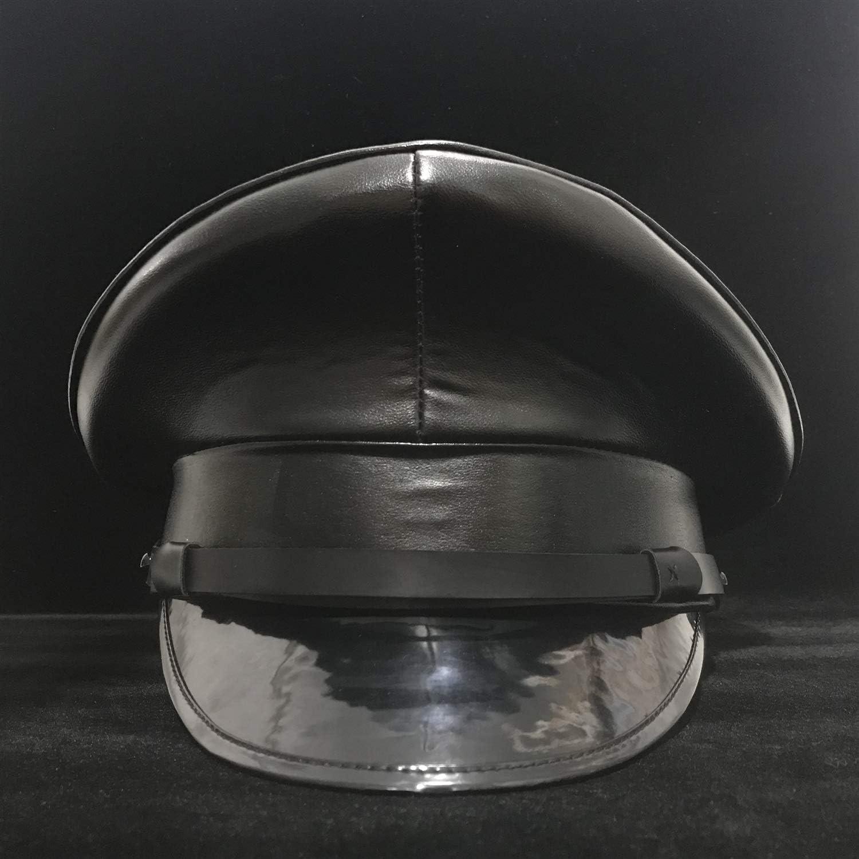 Unisex Deutschland Offizier Schwarz Leder Schirmm/ütze Armee-Hut Cortical Milit/ärh/üte Polizei Cap Cosplay Halloween-Hut Gr/ö/ße M L XXL Farbe : Schwarz, Gr/ö/ße : 57cm