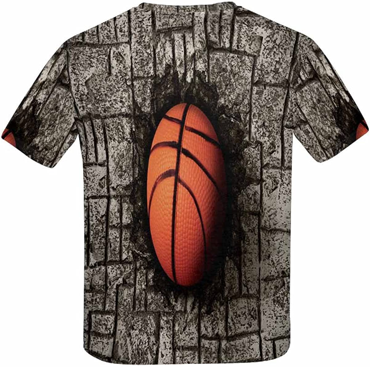 XS-XL INTERESTPRINT Basketball Embedded in Stone Floor Youth T-Shirts