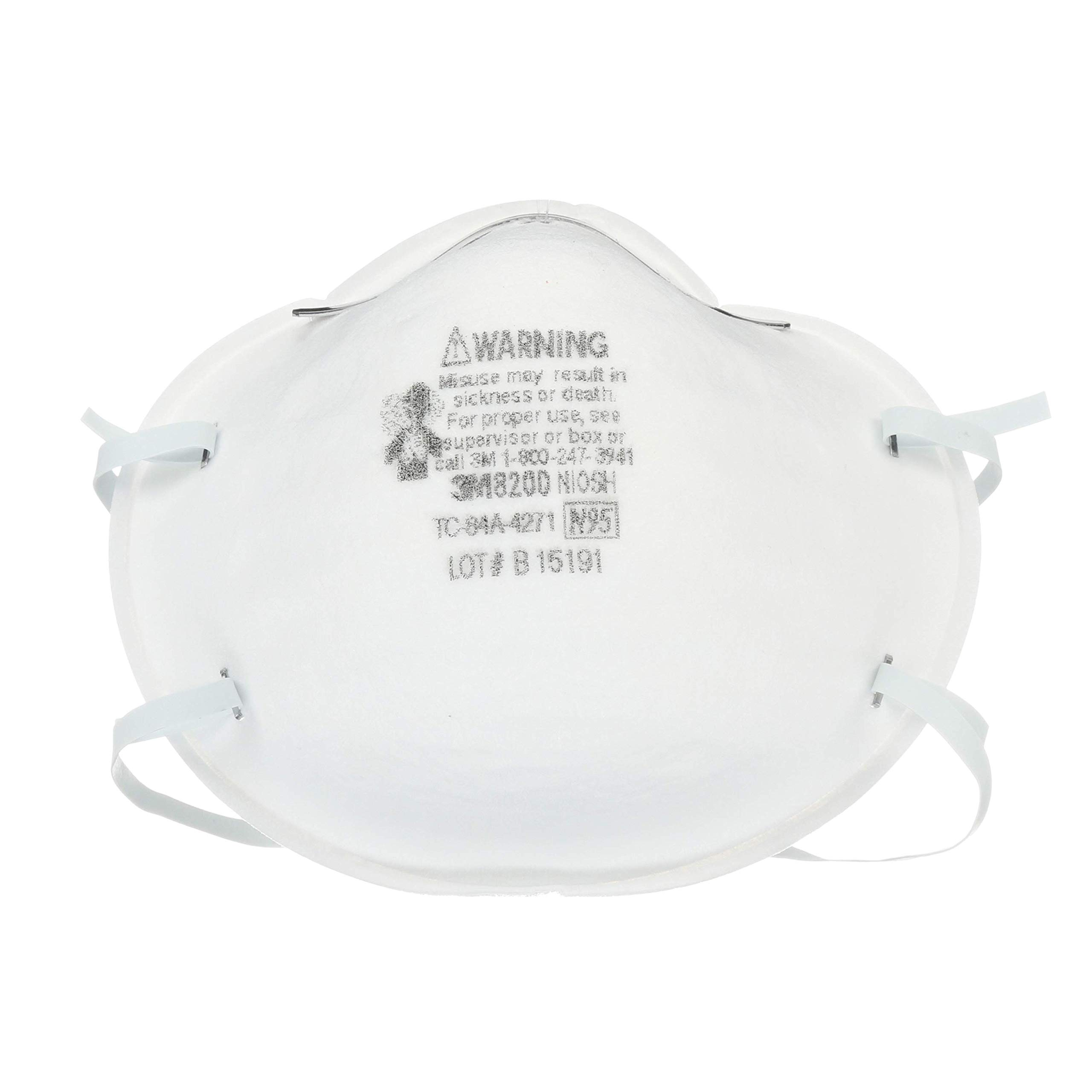 3M Particulate Respirator 8200/07023(AAD), N95 (Pack of 160)