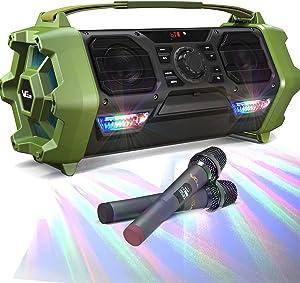 Wireless Karaoke Machine, VeGue Outdoor Singing Machine PA System with 2 Wireless Microphones for Various Indoor/Outdoor Activities(VS-6633)