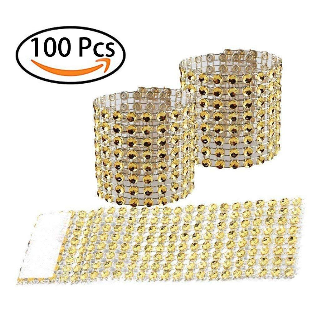 Tretree Napkin Rings, 100 Pcs Golden Handcraft Sparkly Napkin Rings Crystal Beads Napkin Holders for Wedding Centerpieces Special Occasions Celebration Romantic Candlelit Banquet Festival Decoration