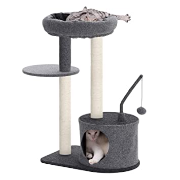 FEANDREA Cat Tree with Sisal-Covered Scratching Posts, Padded Condo and Top Perch, Activity Centre Playhouse Cat Tower Furniture
