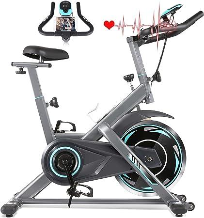 Profun Bicicleta Estática de Spinning Profesional, Ajustable Resistencia, Pantalla LCD, Bicicleta Fitness de Gimnasio Ejercicio con Volante de Inercia, Sillín Ajustable, Máx.130kg (Plateado 4): Amazon.es: Deportes y aire libre