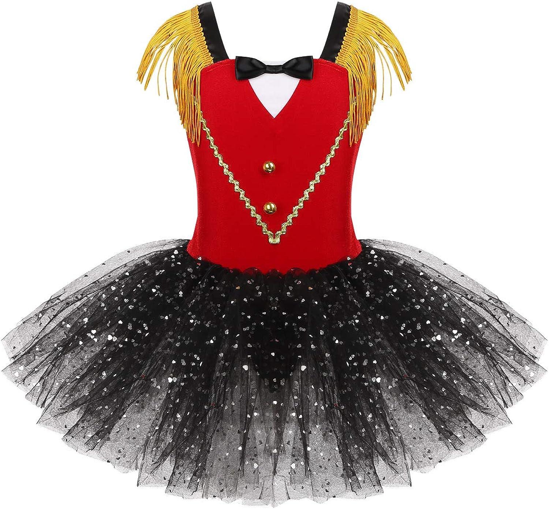 Hansber Kids Girls Sleeveless Bowtie Mesh Tutu Dress Circus Ringmaster Halloween Costume Cosplay Dress up