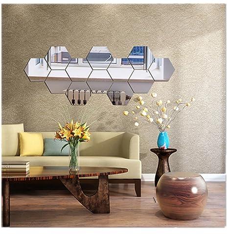 Highpot 3 D Mirror Hexagon Vinyl Diy Silver Wall Sticker Removable Decal Home Decor Art 7 Pcs (A) by Highpot