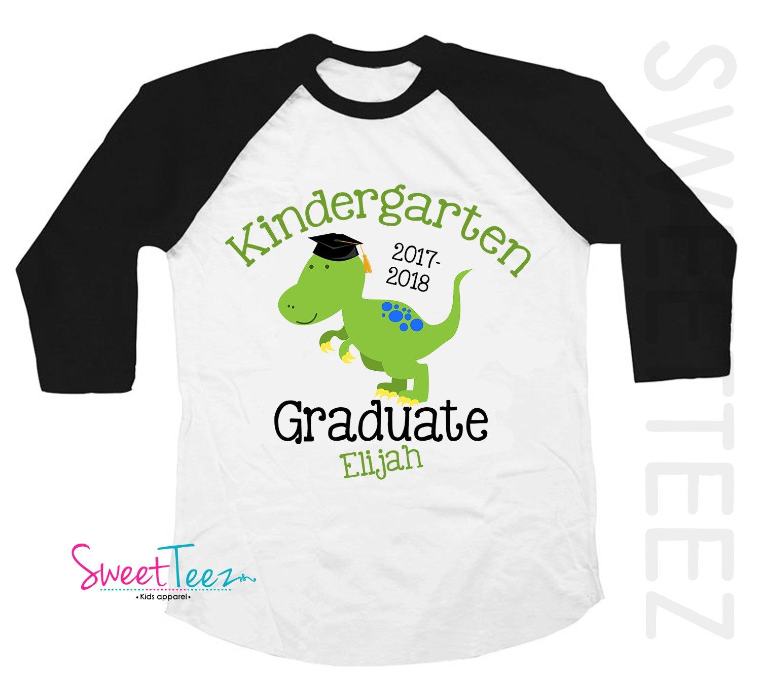 Kindergarten Graduation Shirt, Personalized Kindergarten Graduation Shirt, Dinosaur Shirt For Boys , Graduation Gift, Black Shirt