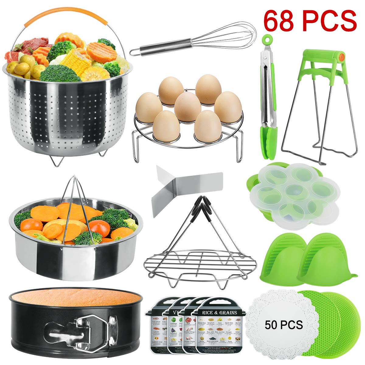 VERONES Accessories Set Compatible with Instant Pot 5,6,8 Qt - Steamer Baskets, Springform Pan, Egg Steamer Rack, Egg Bites Mold, Dish Plate Clip, Kitchen Tong, Oven Mitts, Magnetic Cheat Sheets