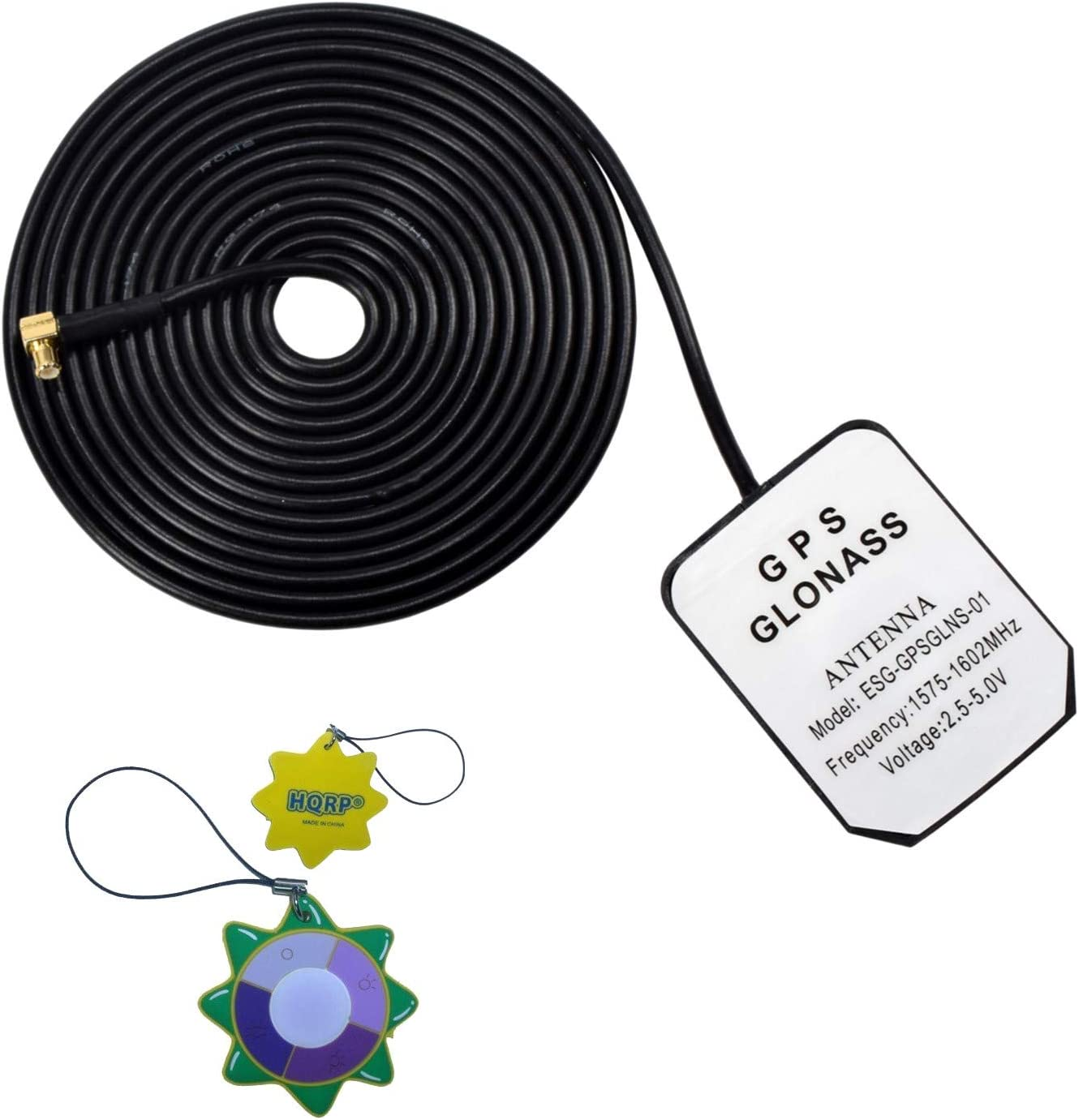 HQRP Antena externa GPS amplificada 1575.42 MHz de montaje magnético para GPSMAP 96 C (010–00384–00) / GPSMAP 60 CSx Navegador GPS de mano (010–00422–00)/GPSMAP 60 Cx GPS + HQRP medidor del sol