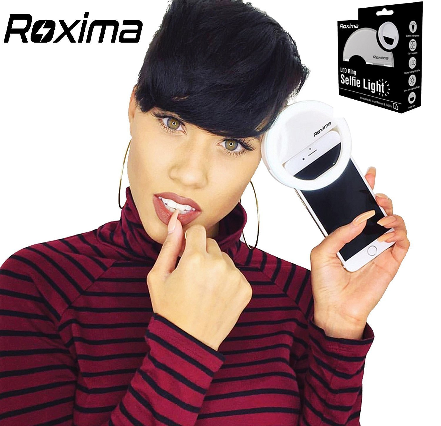 Roxima Clip on Selfie Ring Light with 36 LED For Smart Phone Camera Round Shape, WHITE by Roxima
