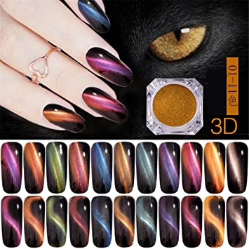 Amazon 11 Boxes Cat Eyes Magnet Nail Glitter 3d Powder Magic