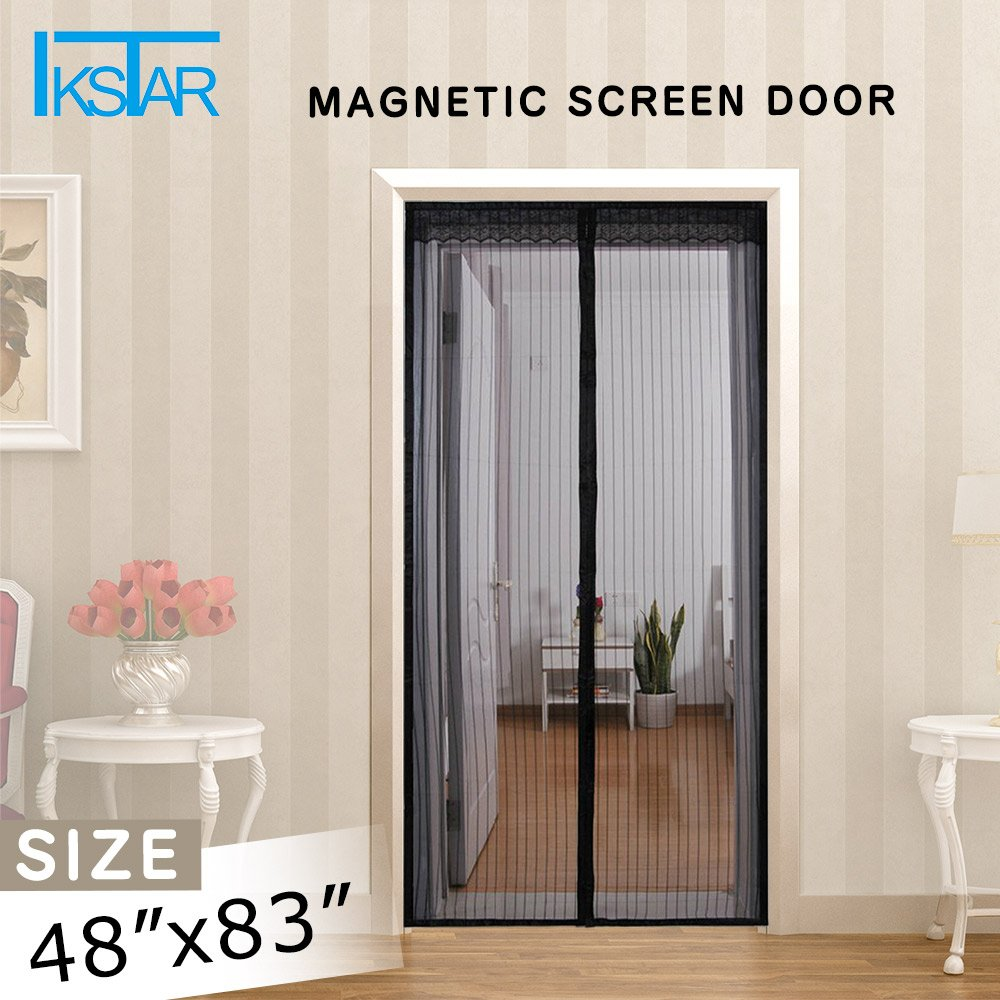 Ikstar Magnetic Screen Door With Heavy Duty Mesh Curtain Full Frame